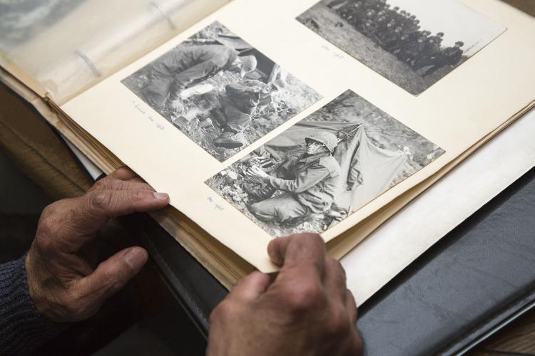 photographic album with war photos