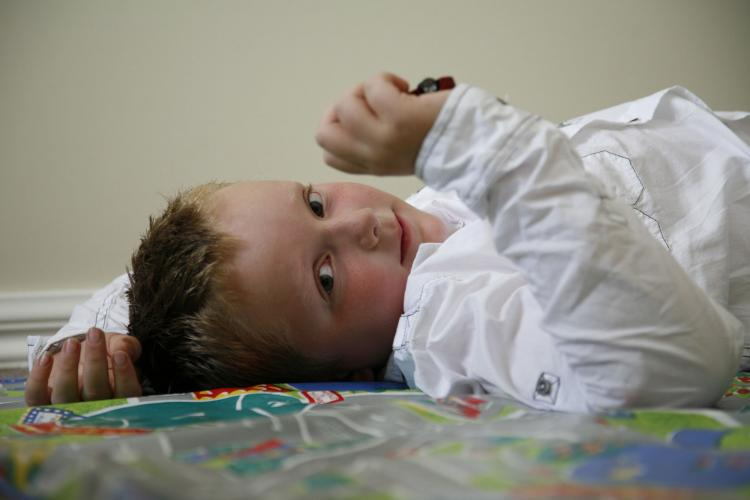 child playing on floor